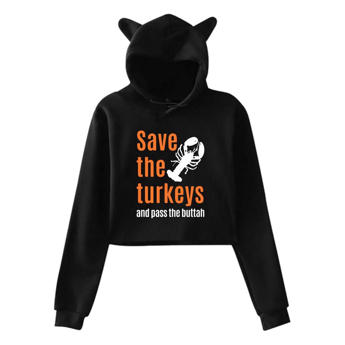 Girls Cute Cat Ear Hoodie Sweatshirts Save Turkeys at Thanksgiving Dew-Navel Hooded Crop Tops