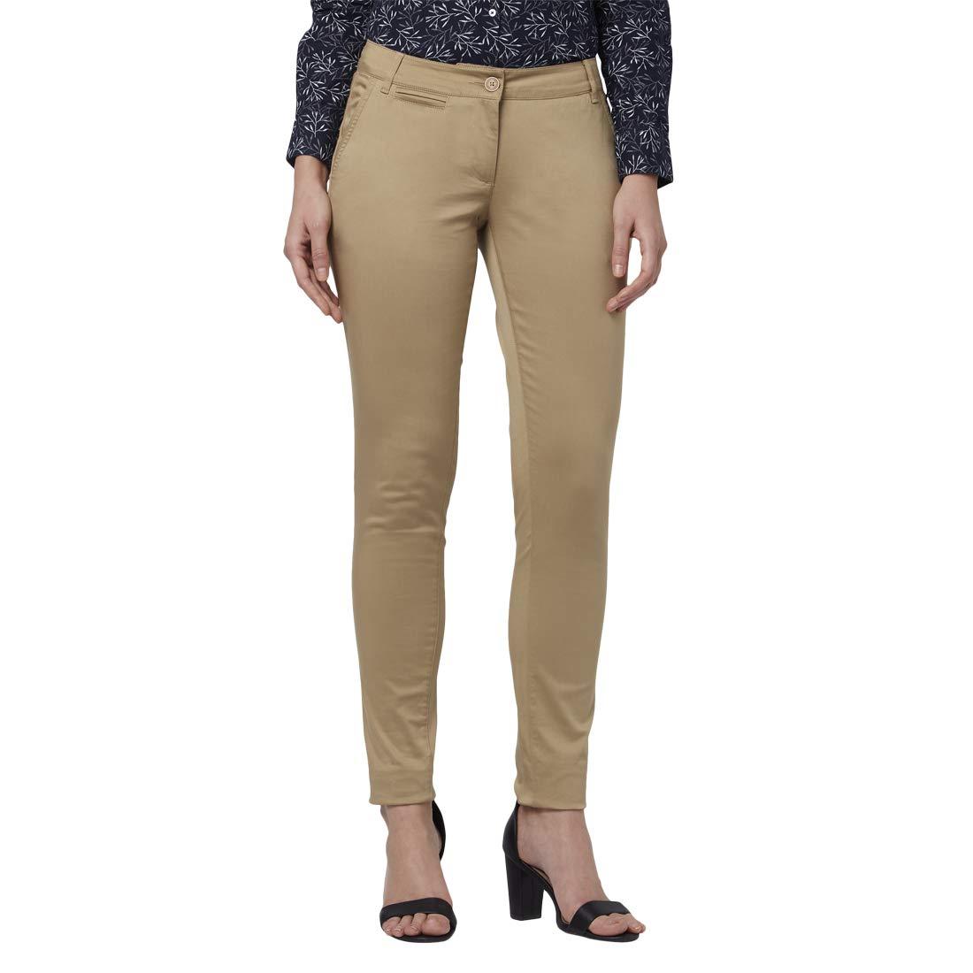 Park Avenue Women Dark Fawn Regular Fit Trouser