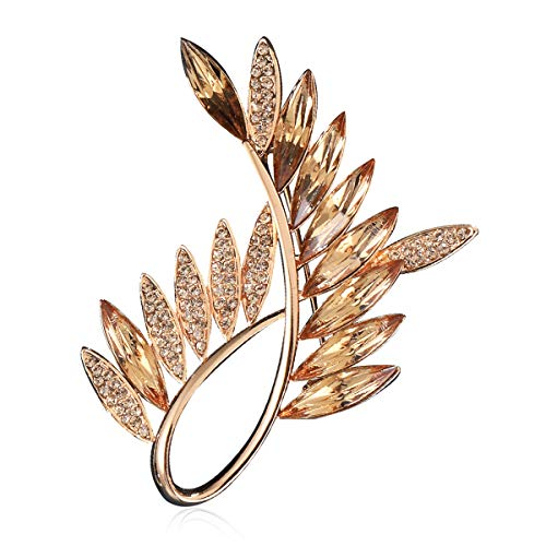 Gold Brooch,Olive Branch Brooches for Women,Rhinestone from Swarovski Jewelry,Crystal Brooch Pins for Christmas Birthday Valentines Day Gifts for ()