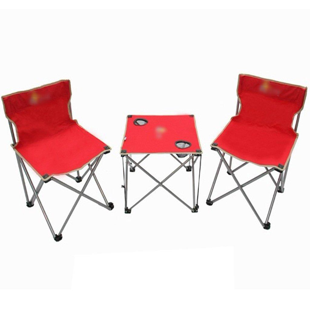 ZGL 旅行椅子 屋外折りたたみテーブルと椅子3つのセットの緑単純な折りたたみテーブルと椅子の色オプション ( 色 : 赤 ) B07CG513VN  赤