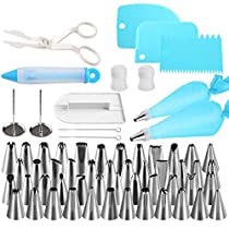 NexGadget Cake Decorating Supplies Kit 62pcs Set - 48 Stainless Steel Icing Frosting Tips - 2 Pastry Bags, 1Icing SmootherSet,2 Couplers, 2 Flower Nails, 1 Decorating Pen,1 Scraper,2 Wash Brush,1 Flower Lifter for Cake Decoration Baking Tools