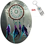 #7: AWAYTR Forest Dreamcatcher Gift Handmade Dream Catcher Net With Feathers Wall Hanging Decoration Ornament (Turquoise Stone Feather Dream Catcher)