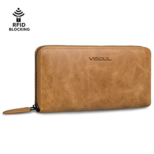 Leather Wallets for Women, VISOUL Genuine Leather RFID Blocking Zip Around Long Travel Purse, Unisex Men's Wallet to Organize Cash, Card and Phone - Khaki -