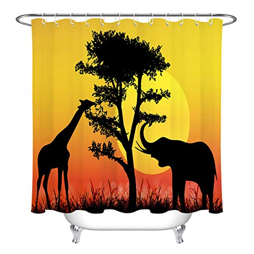 (LB Elephant Giraffe Silhouette Safari Shower Curtain, African Savanna Wild Animal Print Bathroom Accessories, 59 W x 70 L, Water Repellent Heavy Duty)