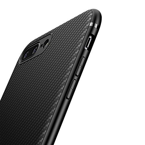 対人後ろに明示的にJ Jecent iPhone 7plus ケース iPhone8plus ケース シリコン ソフトなTPU [耐衝撃 落下 衝撃吸収] [薄型 軽量] [Qi充電対応] [全面保護 指紋防止 耐久] [炭素繊維シリコンケース] iPhone7plus カバー iPhone8plus カバー 黒