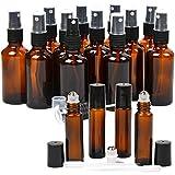16 Pack Essential Oil Glass Bottles, 12 Black Fine Mist Amber Glass Spray Bottles (2OZ), 4 Amber Stainless Steel Roller Bottles (0.34OZ), 2 Clear Plastic Transfer Pipettes