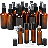 16 Pack Essential Oil Glass Bottles, 12 Black Fine Mist Amber Glass Spray Bottles (2OZ), 4 Amber Stainless Steel Roller Bottles (0.34OZ), 2 Clear Plastic Transfer Pipettes