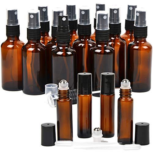 16 Pack Essential Oil Glass Bottles, 12 Black Fine Mist Amber Glass Spray Bottles (2 Ounce), 4 Amber Stainless Steel Roller Bottles (0.34 Ounce), 2 Clear Plastic Transfer Pipettes