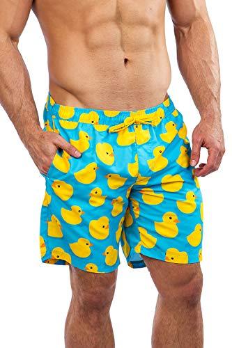 (Men's Light Blue Rubber Ducky Swim Trunks - Blue Rubber Duck Board Shorts)