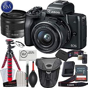 Canon EOS M50 Mirrorless Camera w/15-45mm (Black) + 32GB + K&M Essential Photo Bundle