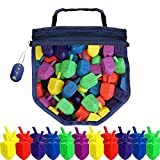 Hanukkah Dreidel Game 100 Plastic Dreidels With Game Play Instructions including Reusable Draydel Shaped Bag
