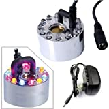 PHEZEN™Colorful 12 LED Ultrasonic Mist Maker Fogger Water Fountain Pond Fog Machine Atomizer Air Humidifier With AC Adapter Automatically Color Changing With 1Free PHEZEN Logo Keyring