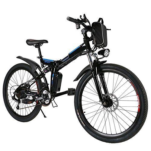 Anfan Folding Electric Power Mountain Bicycle With 26 Inch Wheel, Full Suspension With Shimano Gear,Removable Lithium-Ion Battery (250W 36V )(US STOCK) (Black)