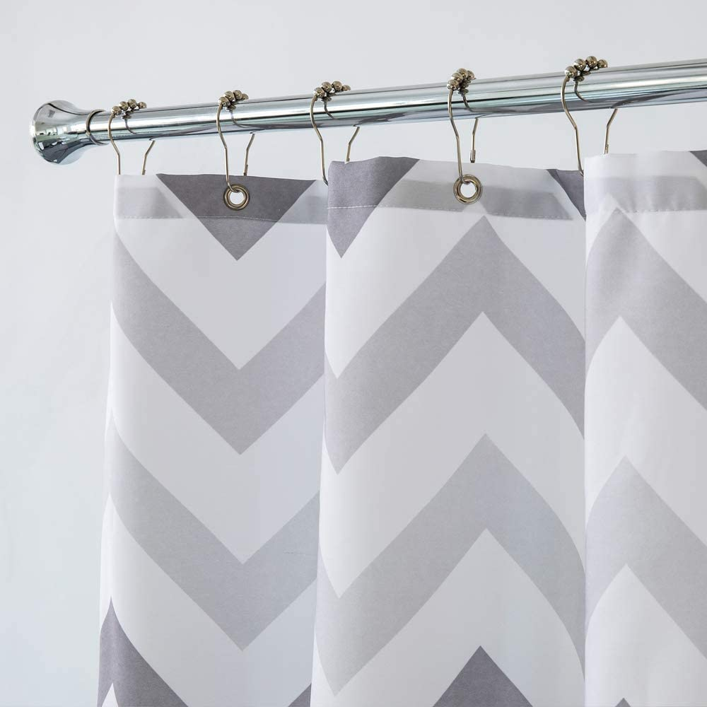 Aimjerry White Striped Fabric Shower Curtain for Bathroom 72-inch x 72-inch