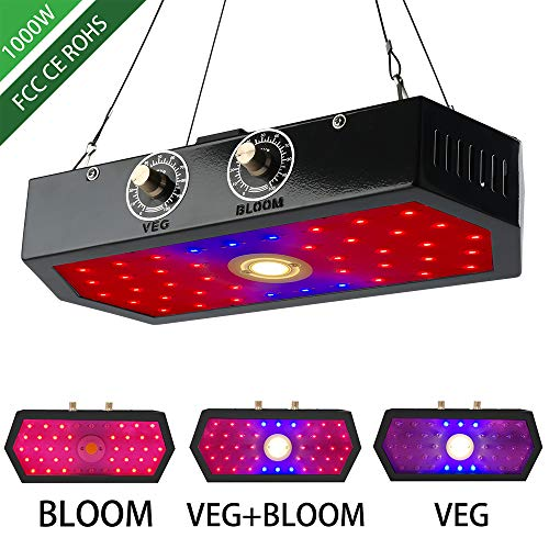 1000W LED Plant Grow Lights with Adjustable Full Spectrum Double Switch Greenhouse Plant Growing Lamps UV&IR Plant Light for Indoor Plants Veg and Flower