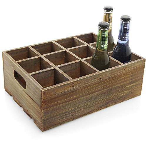 Medium Brown Finish Wood - Vintage Finish Rustic Brown Wood 12 Slot Beer Bottle Serving Crate/Beer Storage Box w/Carrying Handles