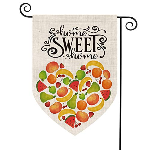 AVOIN Summer Fruit Love Heart Garden Flag Vertical Double Sided, Seasonal Watermelon Strawberry Banana Apple Cherry Pear Rustic Farmhouse Burlap Yard Outdoor Decoration 12.5 x 18 Inch