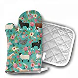 Nuytzs90sd Farm Animals Cow Sheep Goat Chick Oven Mitts Cooking Gloves 480 F Heat Resistant, Non Slip Grip Pot Holders Kitchen Oven BBQ Grill Fire Pits Cooking Baking