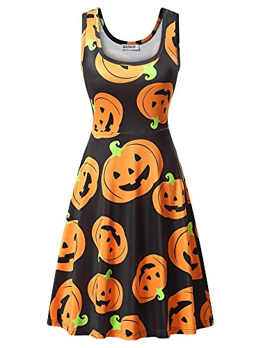 HUHOT Midi Dress, Womens Round Neck Flared Casual A Line Halloween Party Midi Tank Dress -