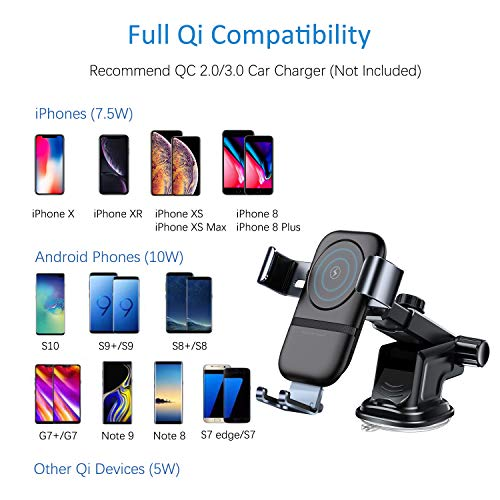 VANMASS Wireless Car Charger Mount, 10W Qi Car Charger Phone Holder of  Automatic Clamping Gravity Sensor, Compatible with iPhone X/XR/8/8 Plus,  Galaxy