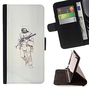 Momo Phone Case / Flip Funda de Cuero Case Cover - Guerrero de la ametralladora de Sci Fi de la Muerte - HTC One A9