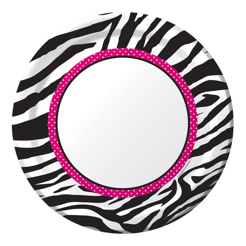 8-Count Round Paper Dinner Plates, Pink Zebra - Zebra Boutique