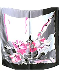 Silk Salon Large 100% Silk Satin Scarf Shawl Wrap Floral Pink Silver Gray