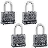 Master Lock 380QLFHC Steel Padlocks, Rust-Oleum Certified Protection Black Finish, 4-Pack