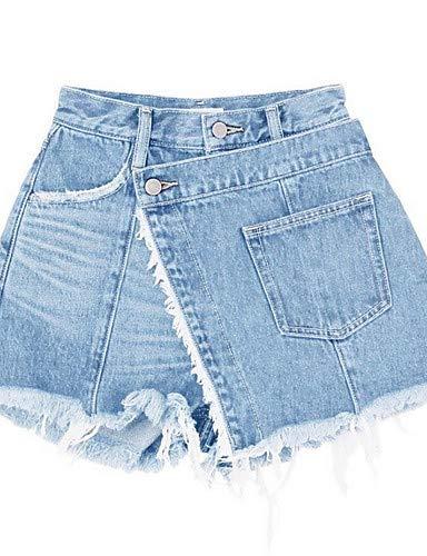 in da donna tinta YFLTZ Blue vita pantaloncini alta unita Pantaloncini cotone Iqca1E