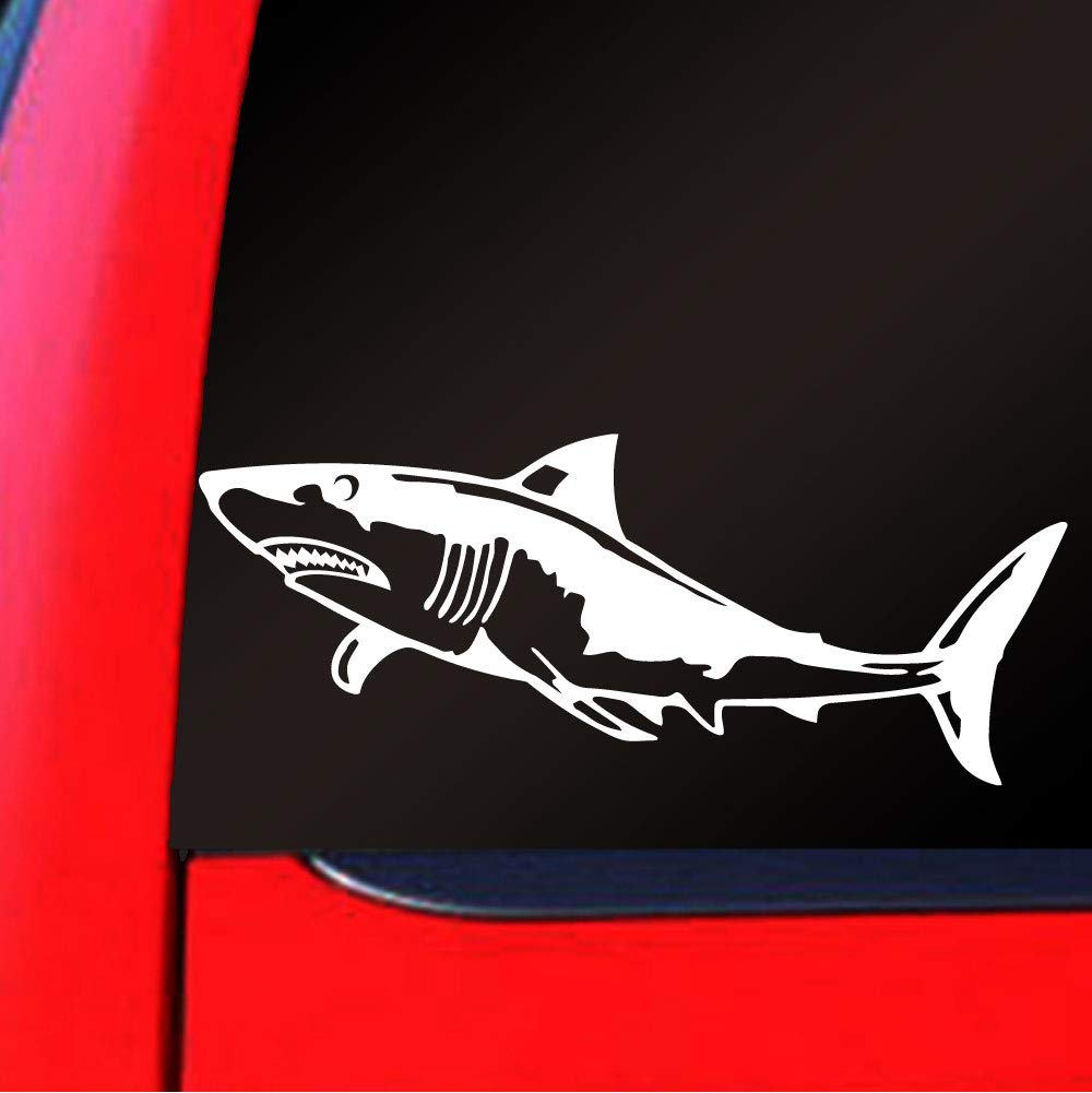 Sassy Stickers Great White Shark Megalodon Decal Scuba Diver Dive Boat Sticker