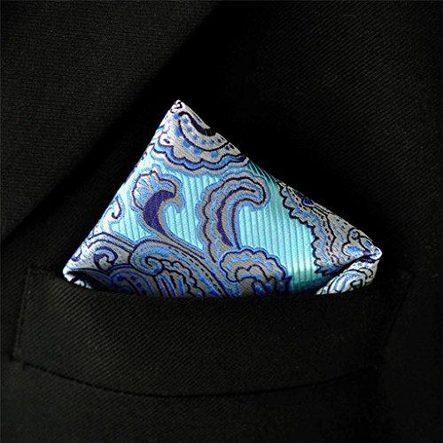 Shlax&Wing Pattern Blue Silver Pocket Square Mens Hankies Hanky