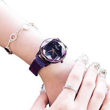 WAOBE Moda Reloj Mujer, Cristal Resistente Al Agua Relojes Señoras Magnética Pulsera Cuarzo Dial Señoras Reloj De Acero Inoxidable,Purple: Amazon.es: ...