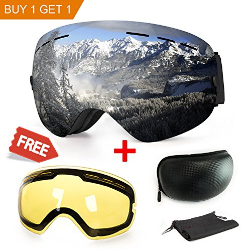 Ski Goggles, Anti-fog UV Protection Winter Snow Sports Snowboard Goggles with Interchangeable Spherical Dual Lens for Men Women & Youth Snowmobile Skiing Skating (Black Frame)