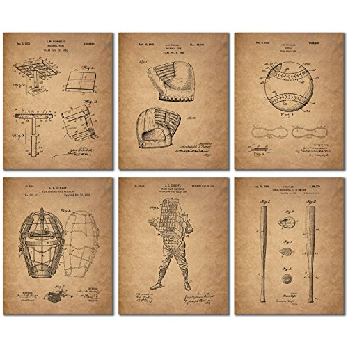 Baseball Patent Wall Art Prints - Set of 6 (8 inches by 10 inches) Vintage Antique Photos ()
