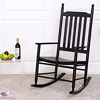 Giantex Wood Outdoor Rocking Chair, Wooden Rocking Chairs For Porch, Patio,  Living Room