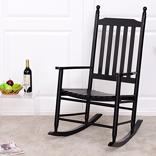Giantex Wood Outdoor Rocking Chair, Wooden Rocking Chairs for Porch, Patio, Living Room, Porch Rocker for adults (Black)