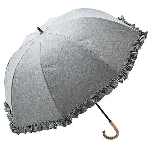 【Rose Blanc】100%完全遮光 日傘 シングルフリル ショートサイズ ダンガリー 50cm (ダンガリーグレー) B06XSX82F3ダンガリーグレー