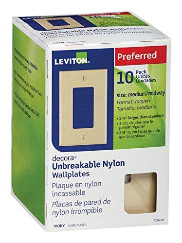 Leviton PJ26-IM 1-Gang Decora/GFCI Wallplate, 10-Pack, Ivory