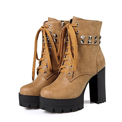 Women's Boots Round Top Metal High AgooLar Heels Solid Toe Pu Low Nail Brown Closed with dvX5xq