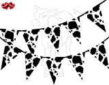 Cow Print Farm Animal Black and White Themed Bunting Banner 15 flags for simply stylish party...