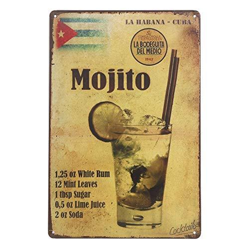 UNIQUELOVER Mojito La Habana-Cuba Drink Retro Vintage Metal Tin Signs Poster Wall Art Pub Bar Decor 12 X 8