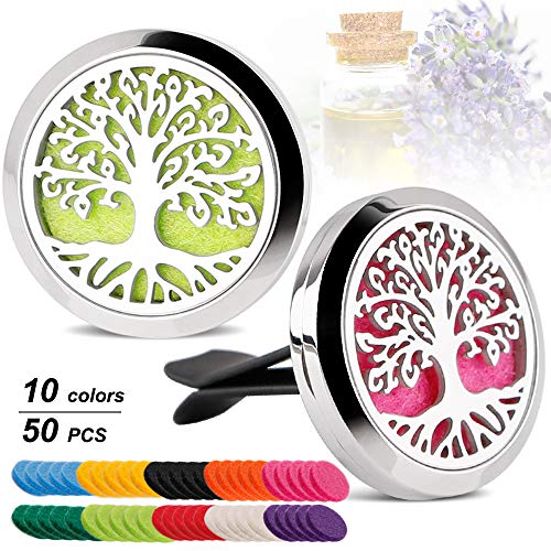 Car Aromatherapy Essential Oil Diffuser Car Air Freshener Stainless Steel Magnetic Closure Locket,2PCS Tree with 50 Refill Pads