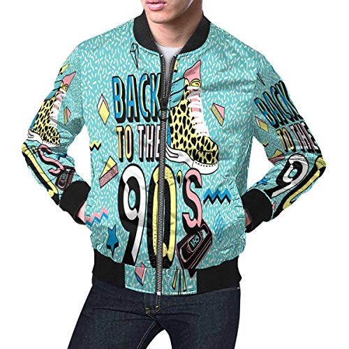 InterestPrint Back to The Trendy 80s-90s Memphis Style Men's Lightweight Jacket Windbreaker M