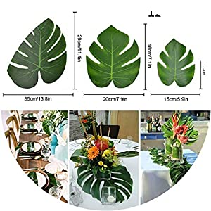 be-my-guest 12Pcs Artificial Palm Leaves Hawaiian Luau Theme Party Decorative Palm Leaves for Wedding Decoration Summer Party Decoration,L 3