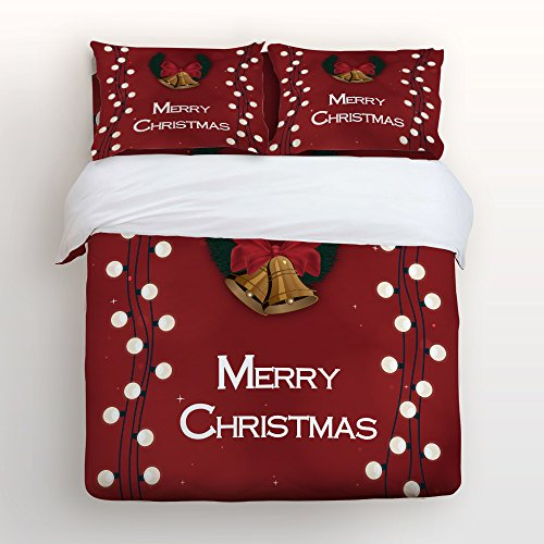 Jingle Bells Light Sets (Christmas Duvet Cover Set, Soft Bedding Set, Jingle Bell and Shining Light Bulb Decoration Pattern Printed By Prime Leader, with Zipper Closure (4pcs, Twin Size))
