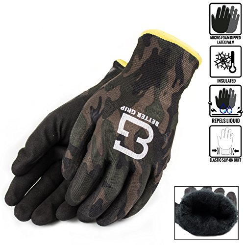 Better Grip BGWANS Safety Winter Insulated Double Lining Rubber Coated Work Gloves, 3 Pairs/Pack (Medium, Military Brown)