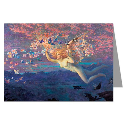 Six Vintage Greeting Cards of Edward Robert Hughes Painting On the Wings of the - Hughes Painting