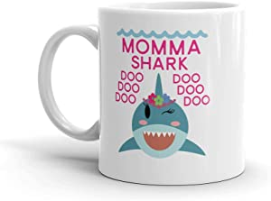 """Shark Momma"" Ceramic Coffee Mug/Cup (11 oz.) — Birthday Mother's Day Christmas For Mom Mother Grandma"