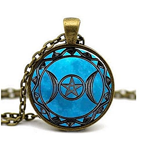 Pentagram Wiccan Star~This gorgeous Blue Pentagram pendant is an eye catcher it can be worn at a wedding or with your simple get ups