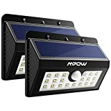 Mpow 20 LED Solar Lights Motion Sensor Security Light, 3-in-1 Wireless Weatherproof Security Solar Light Motion Sensor Lamp (3 Intelligent Modes, Black) - Pack of 2